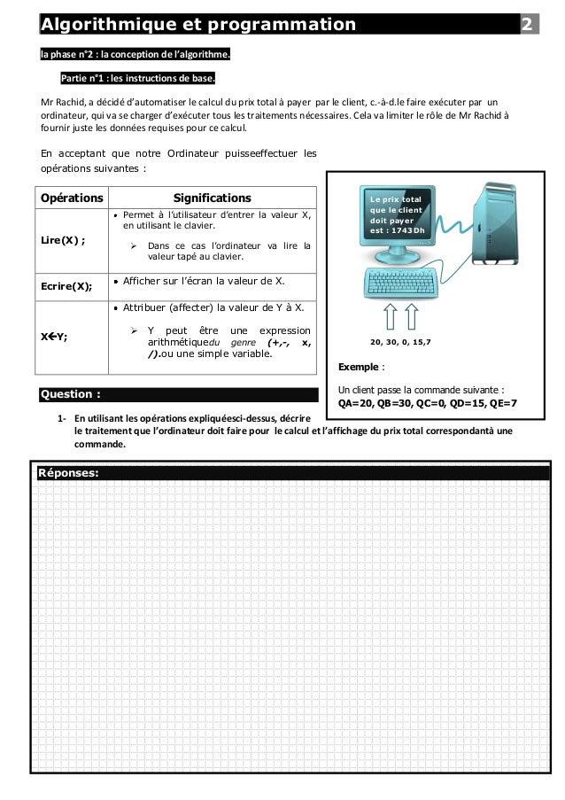Algorithmique et programmation                                                                                      2la ph...