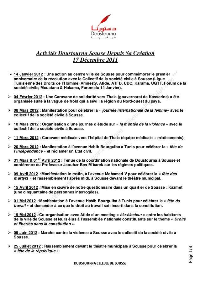 DOUSTOURNA CELLULE DE SOUSSEPage1/4Activités Doustourna Sousse Depuis Sa Création17 Décembre 2011 14 Janvier 2012 : Une a...