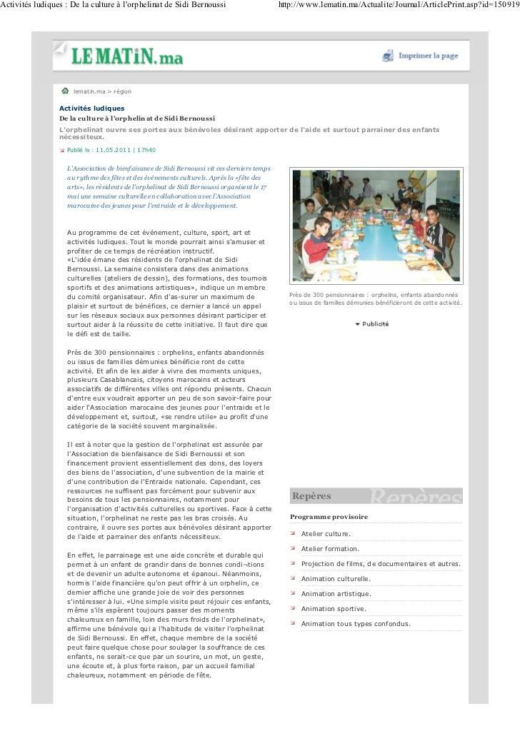 Activités ludiques : De la culture à lorphelinat de Sidi Bernoussi                           http://www.lematin.ma/Actuali...