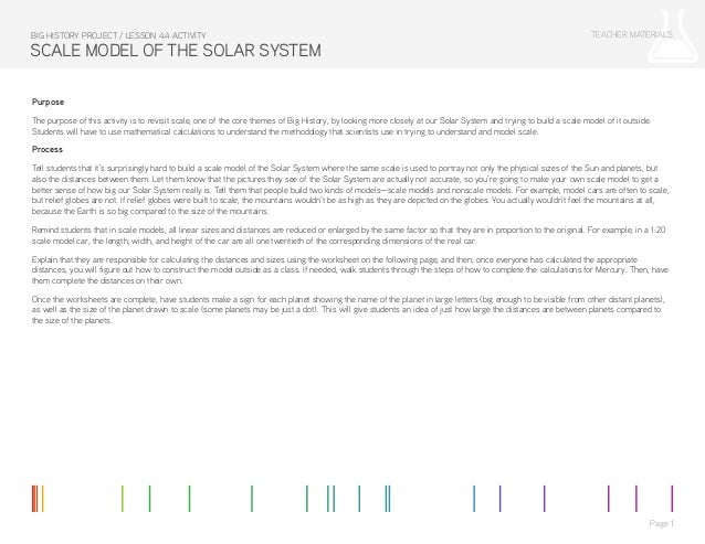 Lesson 4 4 Activity: Scale Model of the Solar System