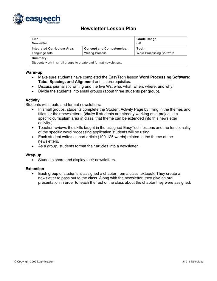 Newsletter Lesson Plan             Title:                                                            Grade Range:         ...