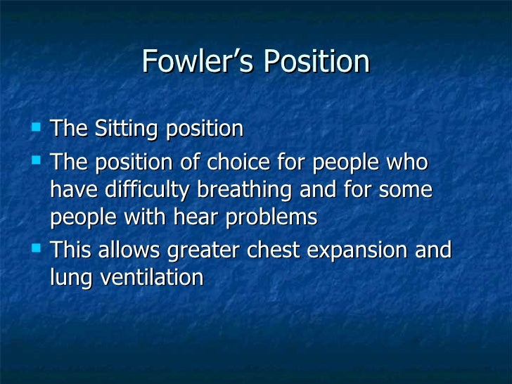 Fowler S Position With Pillows