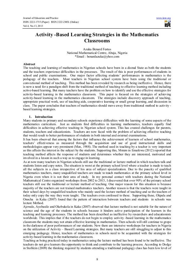 Journal of Education and Practice www.iiste.org ISSN 2222-1735 (Paper) ISSN 2222-288X (Online) Vol.4, No.13, 2013 8 Activi...