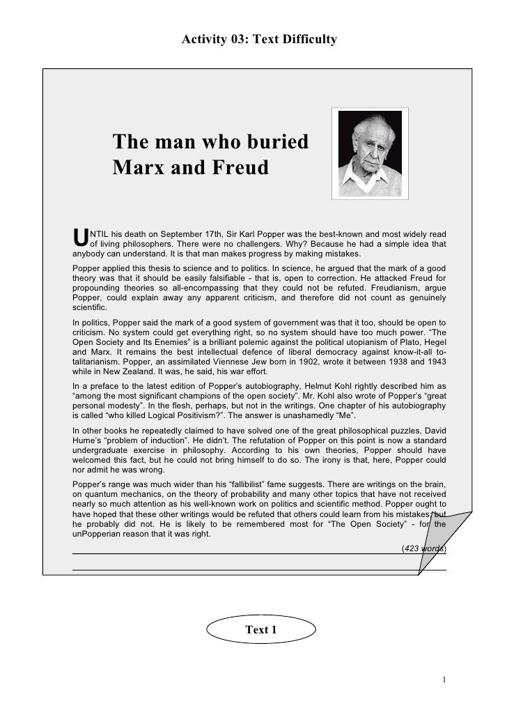 Activity 03: Text Difficulty               The man who buried           Marx and Freud   U   NTIL his death on September 1...
