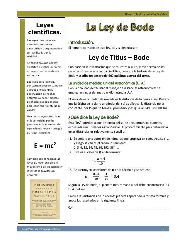 Números Reales y Notación Científica http://licmata-math.blogspot.mx/ 3 Introducción. El nombre correcto de esta ley, tal ...