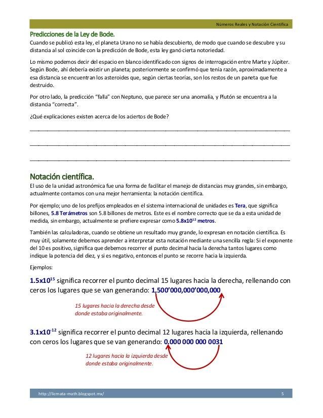 Números Reales y Notación Científica http://licmata-math.blogspot.mx/ 5 Predicciones de la Ley de Bode. Cuando se publicó ...