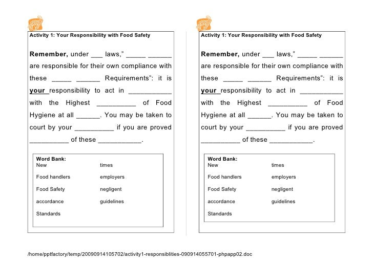 Activity 1: Your Responsibility with Food Safety                   Activity 1: Your Responsibility with Food Safety   Reme...