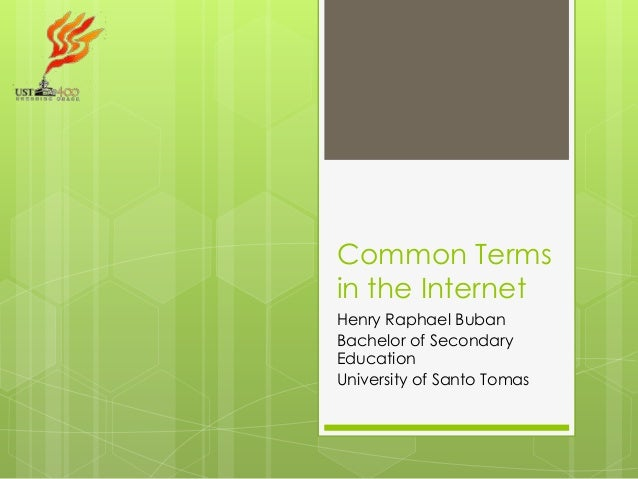 Common Terms in the Internet Henry Raphael Buban Bachelor of Secondary Education University of Santo Tomas