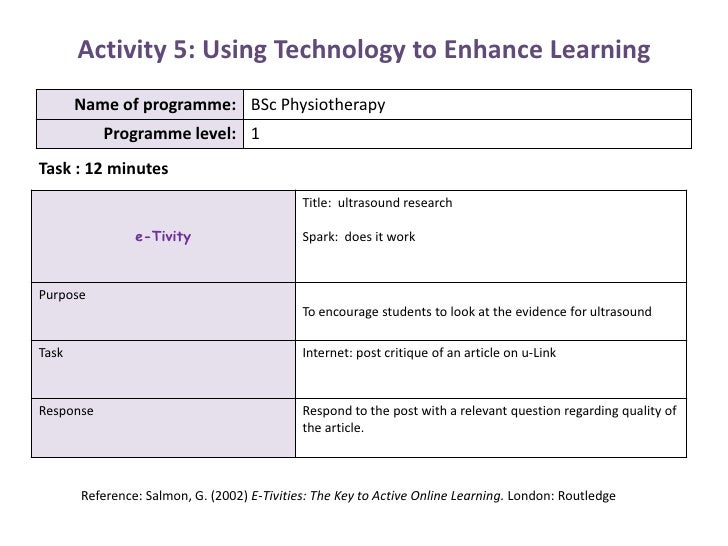 Activity 5: Using Technology to Enhance Learning<br />Task : 12 minutes<br />Reference: Salmon, G. (2002) E-Tivities: The ...