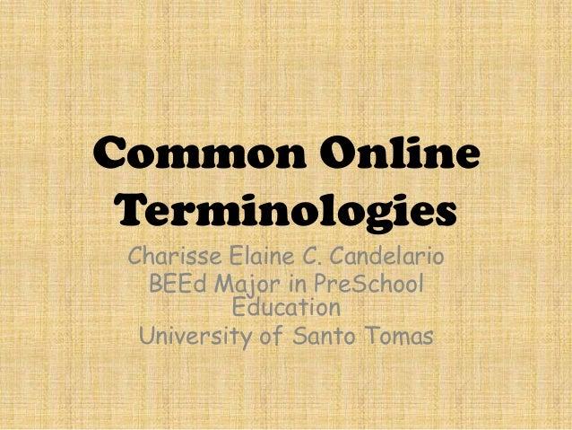Common Online Terminologies Charisse Elaine C. Candelario BEEd Major in PreSchool Education University of Santo Tomas