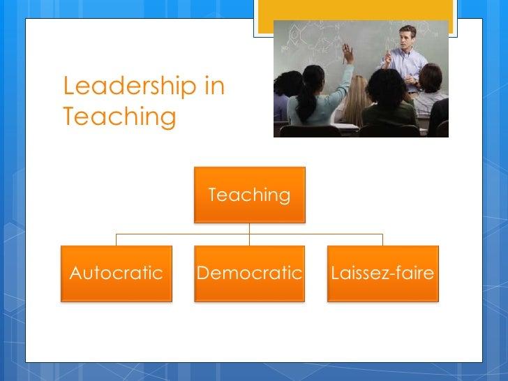 Leadership inTeaching              TeachingAutocratic   Democratic   Laissez-faire