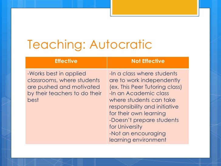 Teaching: Autocratic          Effective                      Not Effective-Works best in applied          -In a class wher...