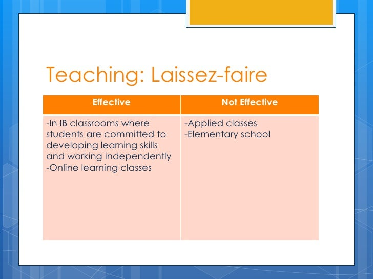 Teaching: Laissez-faire         Effective                  Not Effective-In IB classrooms where      -Applied classesstude...
