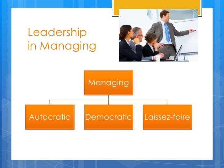 Leadershipin Managing             ManagingAutocratic   Democratic   Laissez-faire