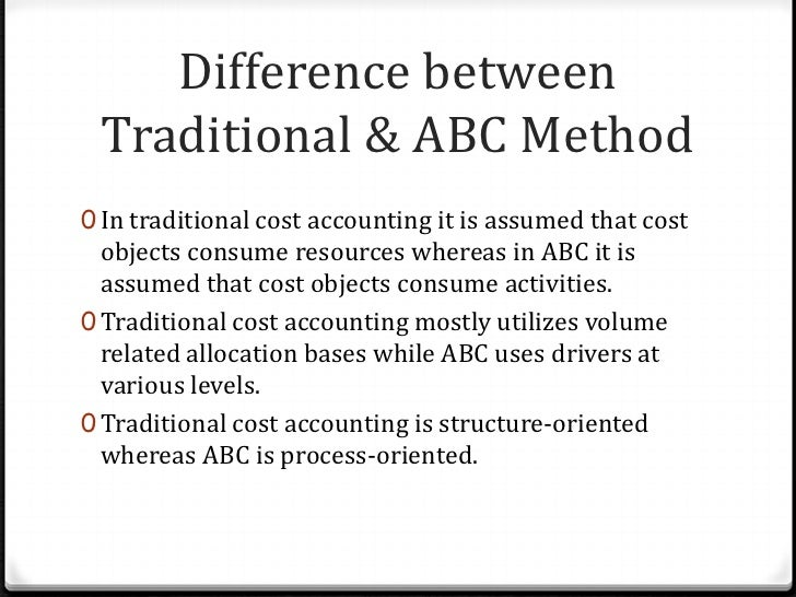 activity based costing and traditional costing Businesspeople adopt abc hoping to improve costing accuracy, to uncover the true cost and profitability of products and services abc assigns costs based on activities and resource usage, in contrast with traditional costing allocation calculated examples compare costing method results.