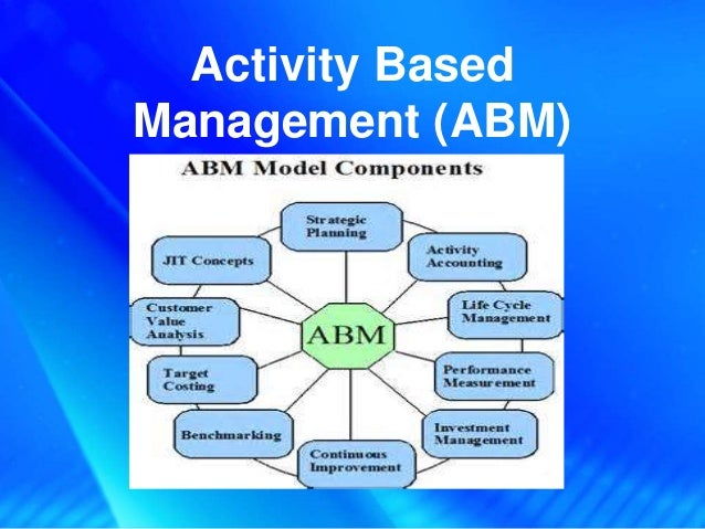 activity based management abm Activity-based management (abm) is used to determine the profitability of every aspect of a business, so that those areas can be upgraded or eliminated the intent is to achieve a more.