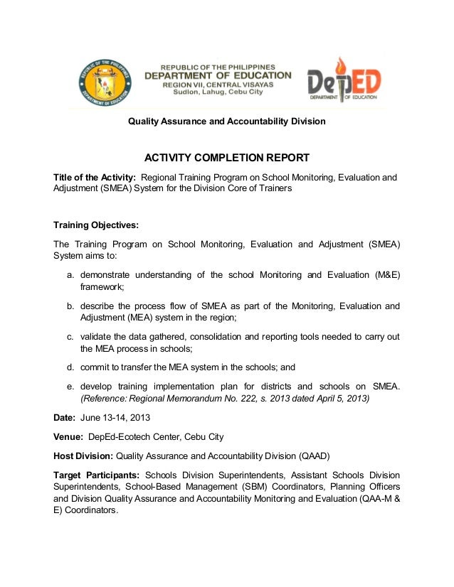 report for school school monitoring evaluation and adjustment smea activity complet