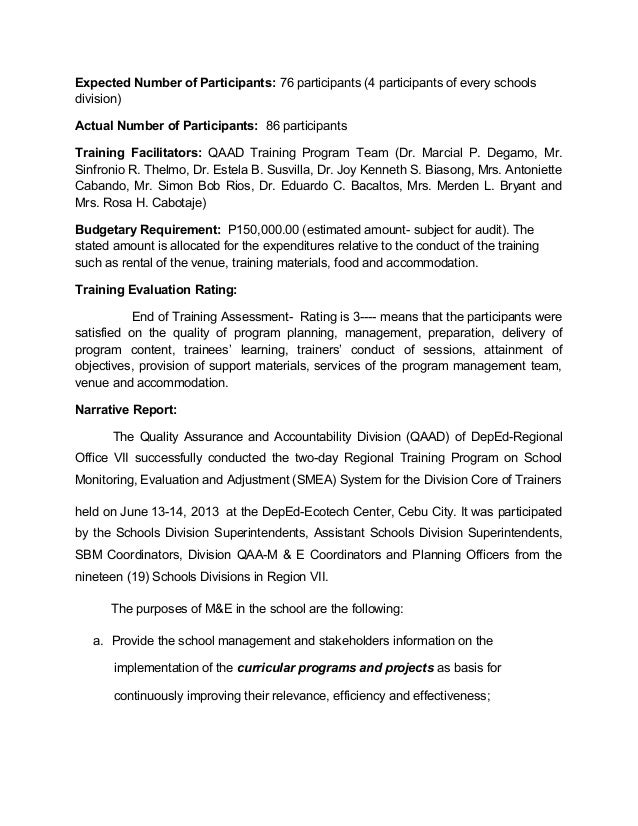 School Monitoring, Evaluation And Adjustment- Activity Completion Rep…