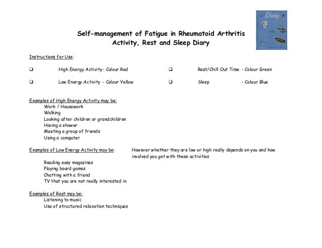 Self-management of Fatigue in Rheumatoid Arthritis Activity, Rest and Sleep Diary Instructions for Use:  High Energy Acti...