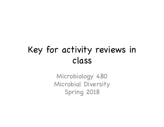 Key for activity reviews in class  Microbiology 480