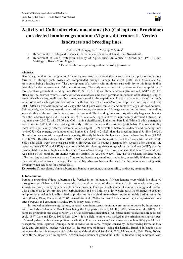 Journal of Biology, Agriculture and Healthcare                                                          www.iiste.orgISSN ...