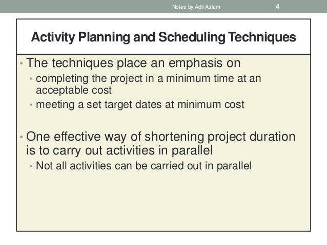 Activity Planning in Software Project Management
