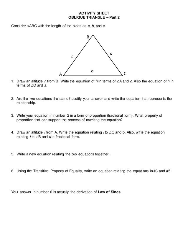 SBTP - Activity sheet for proving law of sines and cosines DavNor Div