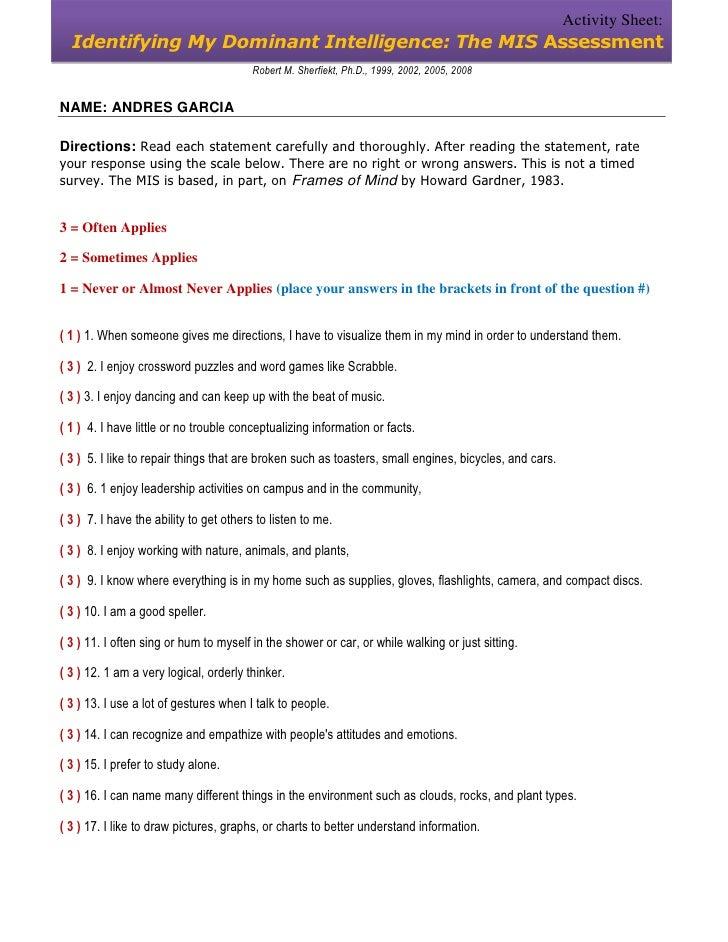 Activity Sheet:  Identifying My Dominant Intelligence: The MIS Assessment                                         Robert M...