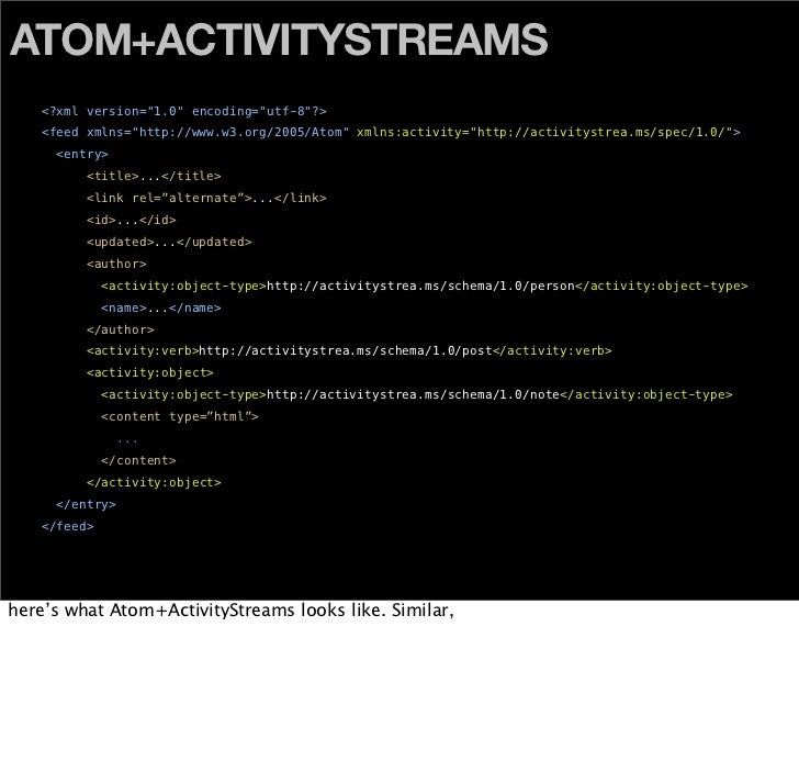 "ATOM+ACTIVITYSTREAMS     <?xml version=""1.0"" encoding=""utf-8""?>                                               xmlns:activi..."