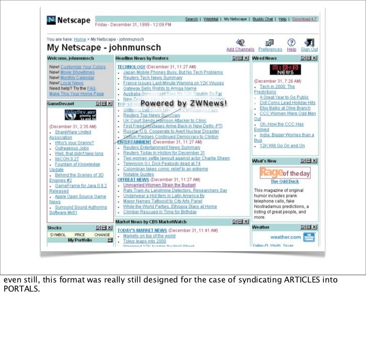 Copyright 2000 ZWave, LLC   even still, this format was really still designed for the case of syndicating ARTICLES into PO...