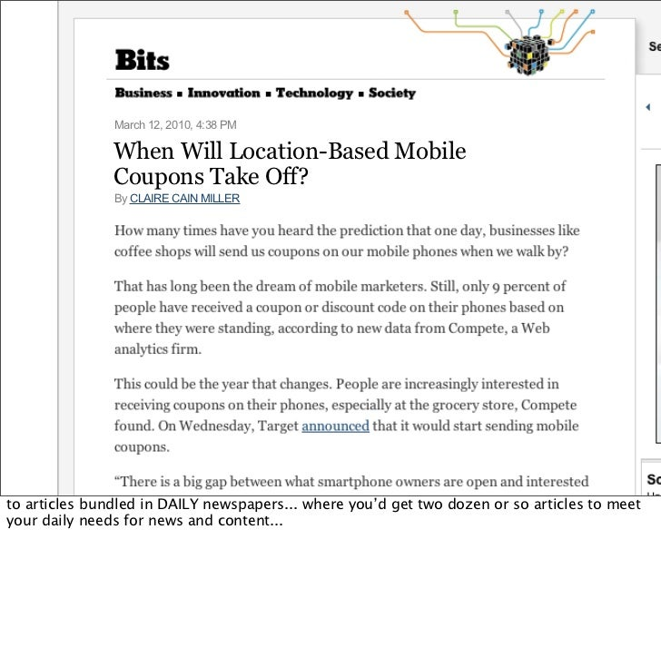 When Will Location-Based Mobile                 Coupons Take Off? http://nyti.ms/aYXUWY                 March 12, 2010, 4:...