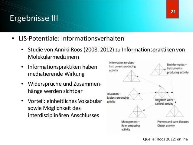 22 22 Ergebnisse III ● LIS-Potentiale: Informationsverhalten ● Studie von Anniki Roos (2008, 2012) zu Informationspraktike...