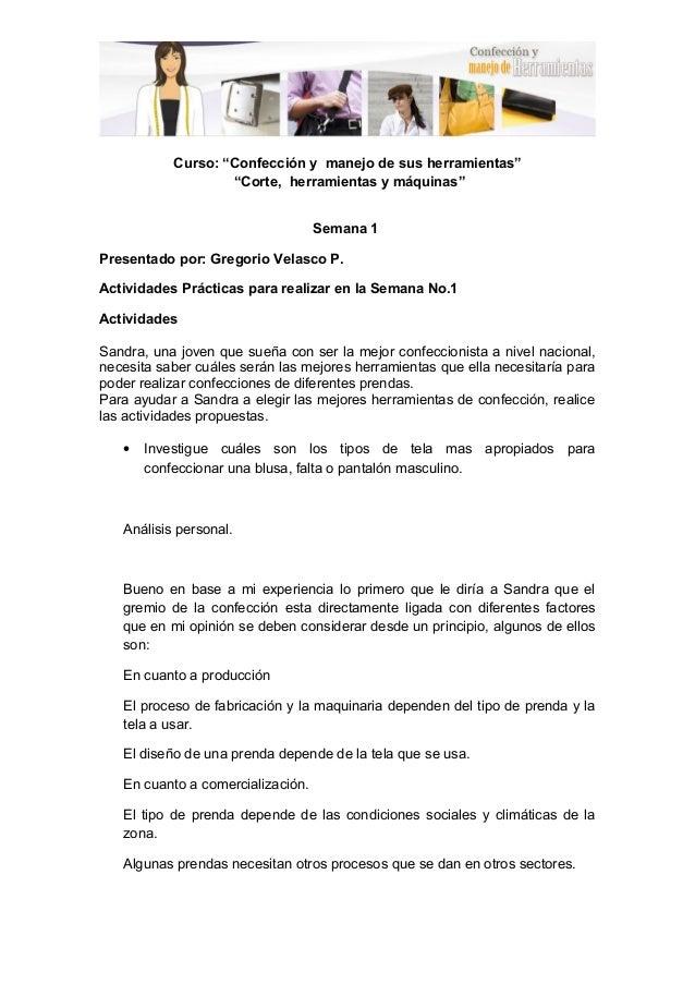 """37e5d727a Actividades módulo 1 Curso  """"Confección y manejo de sus herramientas""""  """"Corte"""