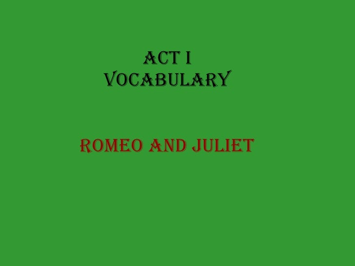 romeo and juliet vocabulary pdf