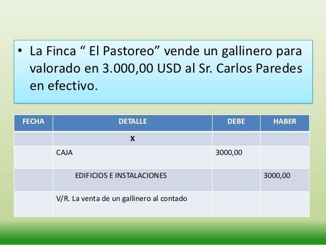 """EJEMPLO• La Finca """" El Pastoreo"""" compra un establo para los  caballos valorado en 8.000,00 USD al Sr. Edmundo Arias  en ef..."""