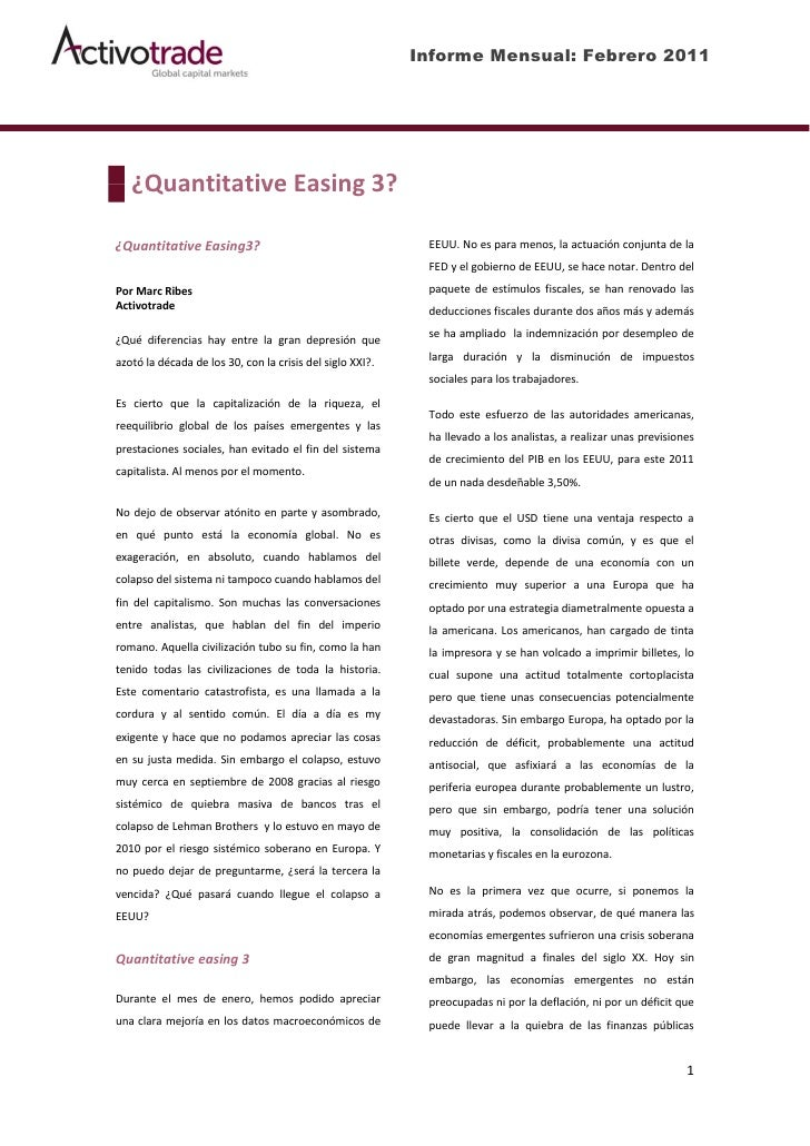 Informe Mensual: Febrero 2011   ¿Quantitative Easing 3?¿Quantitative Easing3?                                      EEUU. N...