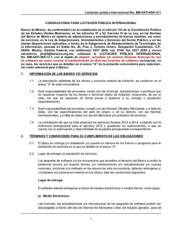 Licitación pública internacional No. BM-SATI-009-12-1                 CONVOCATORIA PARA LICITACIÓN PÚBLICA INTERNACIONALBa...