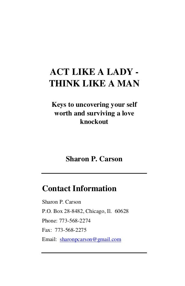 Act Like Lady Think Like A Man