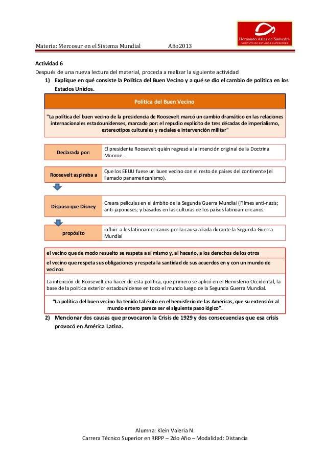 Materia: Mercosur en el Sistema Mundial  Año2013  Actividad 6 Después de una nueva lectura del material, proceda a realiza...
