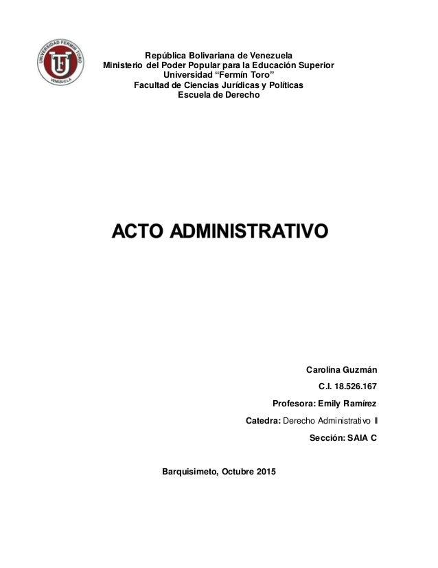 """República Bolivariana de Venezuela Ministerio del Poder Popular para la Educación Superior Universidad """"Fermín Toro"""" Facul..."""