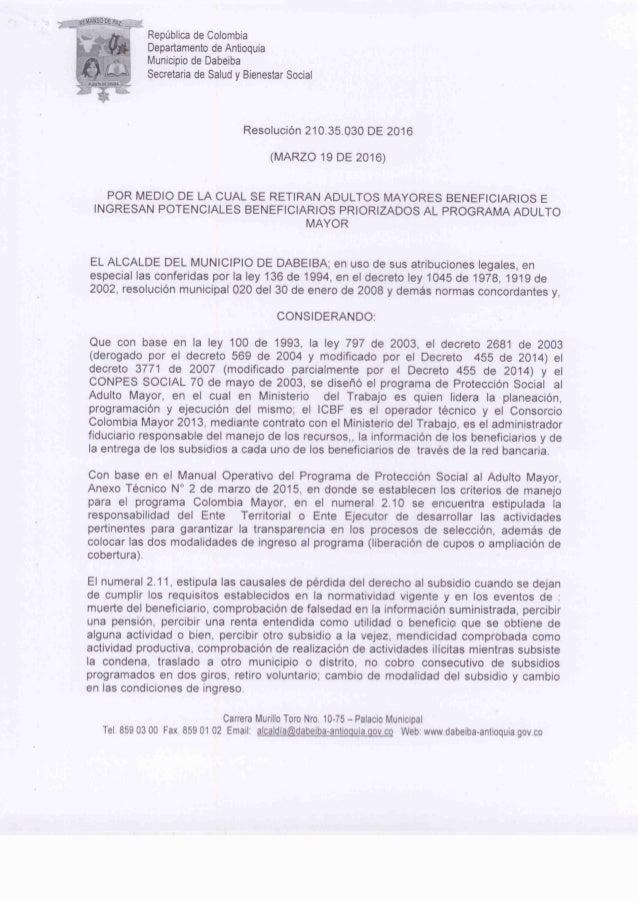 Repùblica de Colombia Departamento de Antioquia Municipio de Dabeiba Secretaria de Salud y Bienestar Social  Resoluciòn 21...
