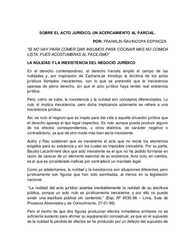 """SOBRE EL ACTO JURIDICO, UN ACERCAMIENTO AL PARCIAL. POR: FRANKLIN ÑAVINCOPA ESPINOZA """"SI NO HAY PARA COMER DAR INSUMOS PAR..."""