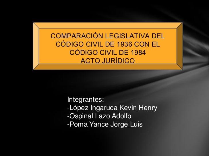 COMPARACIÓN LEGISLATIVA DEL CÓDIGO CIVIL DE 1936 CON EL    CÓDIGO CIVIL DE 1984      ACTO JURÍDICO    Integrantes:    -Lóp...