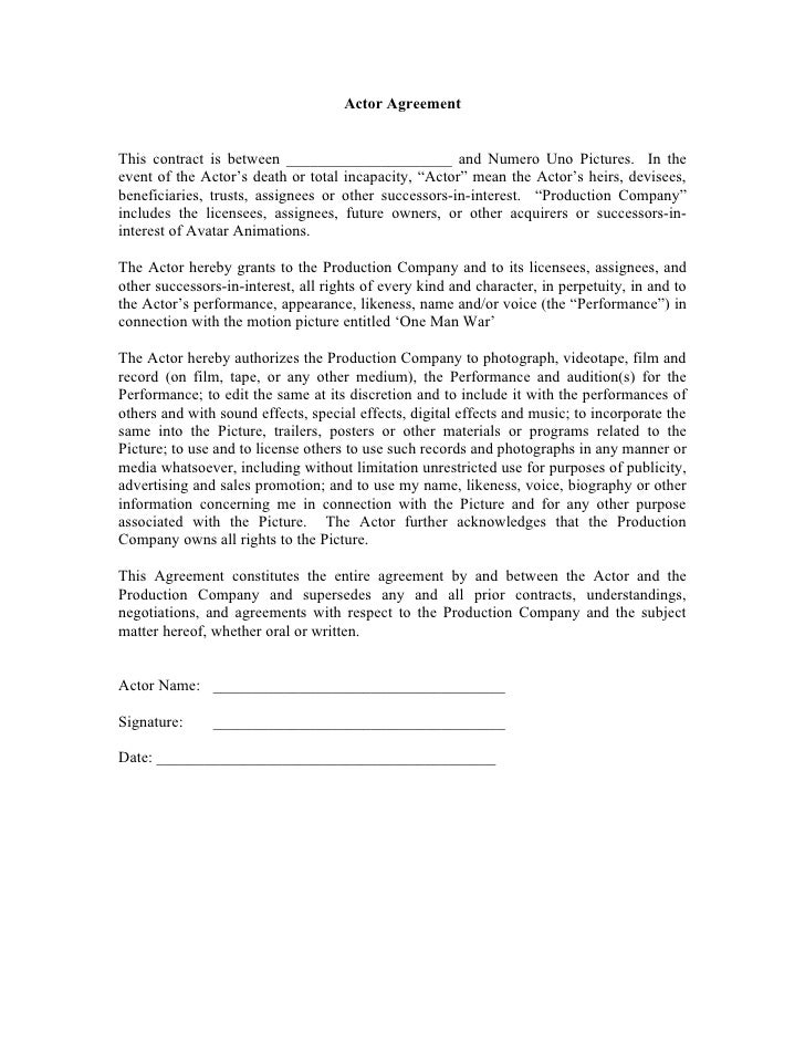 Actor agreement form for Acting contract template