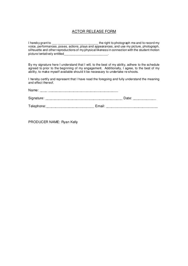Actor Release Forms. Camera Shot List Download Free Filmmaking