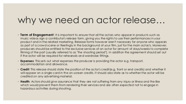 Actor Release Form And Laws