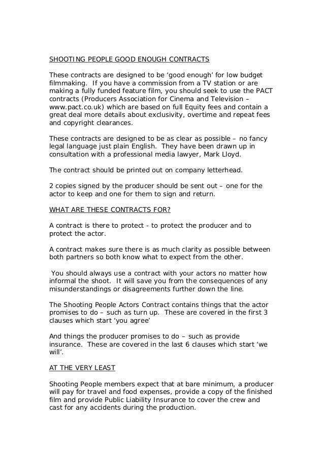 Actors contract