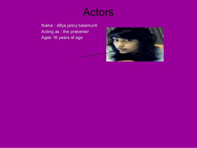 Actors Name : difya jancy balamurili Acting as : the presenter Ages 18 years of age