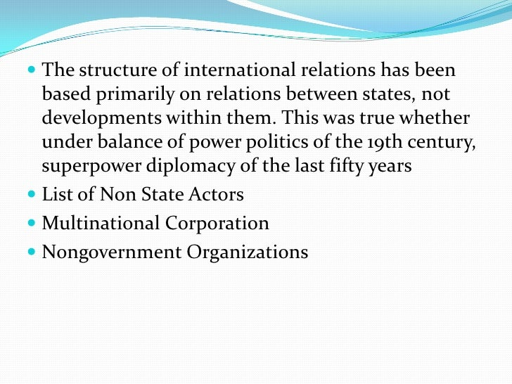 characteristics of international non governmental organizations politics essay The term, non-governmental organization or ngo, came into use in 1945 because of the need for the un to differentiate in its charter between participation rights for intergovernmental specialized agencies and those for international private organizations.