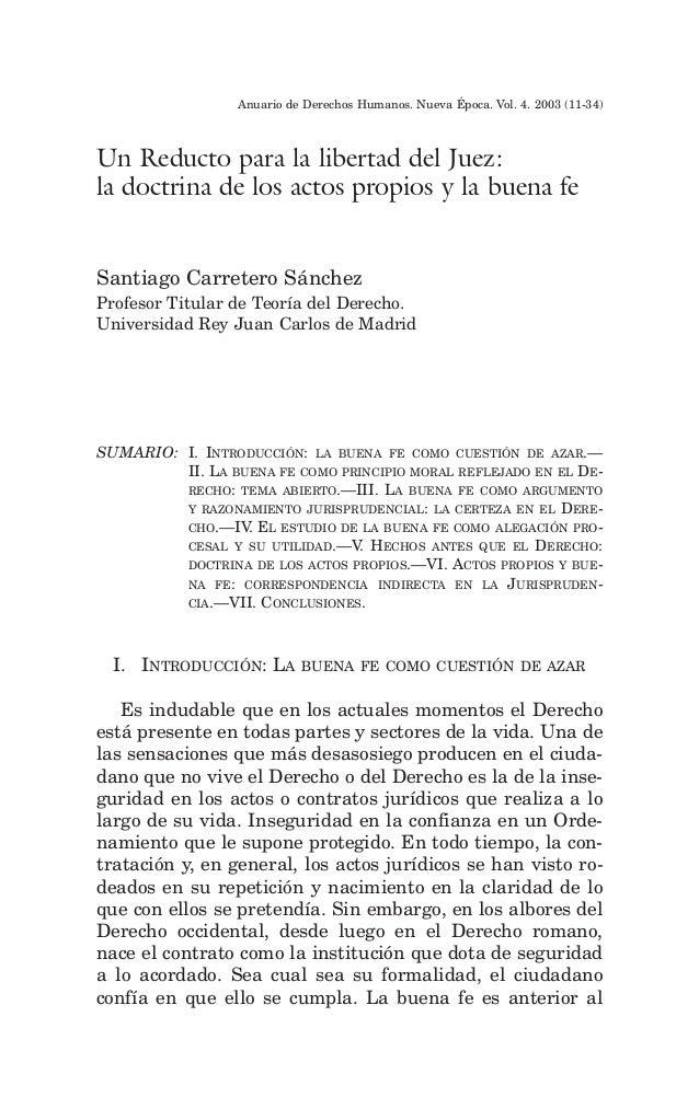 Anuario de Derechos Humanos. Nueva Época. Vol. 4. 2003 (11-34)Un Reducto para la libertad del Juez:la doctrina de los acto...